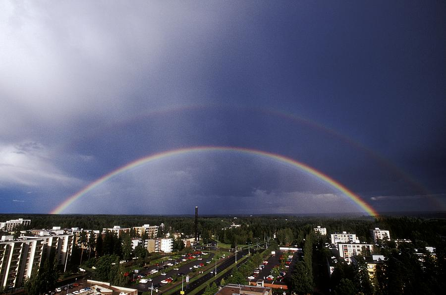 Tree Photograph - Double Rainbow Over A Town by Pekka Parviainen