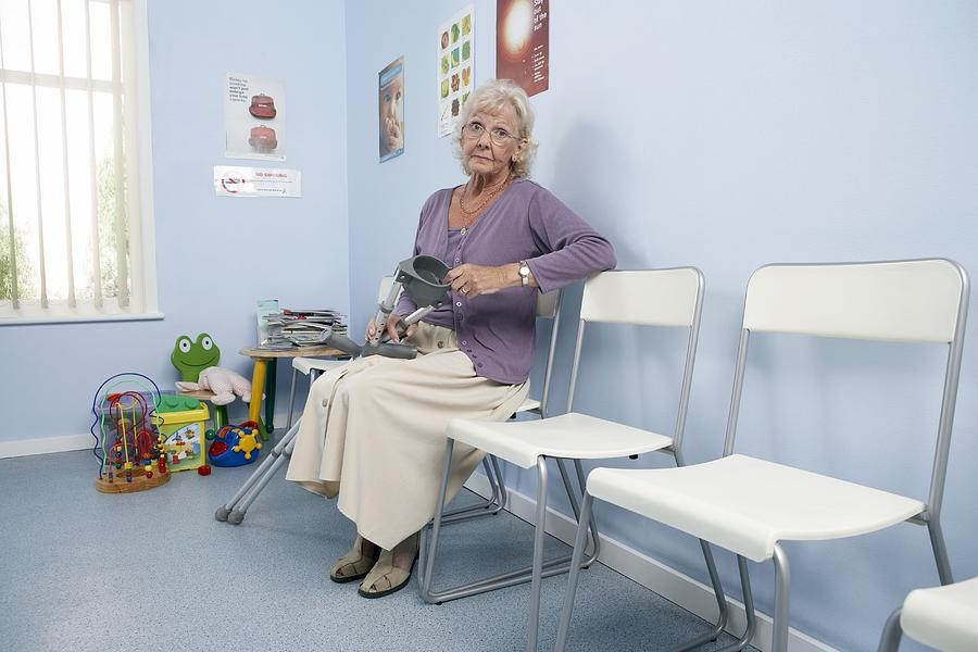 Crutch Photograph - Elderly Patient by Adam Gault