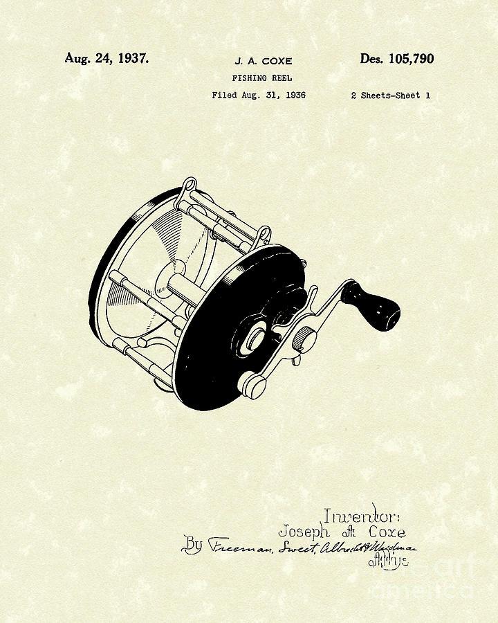 Fishing Reel 1937 Patent Art Drawing By Prior Art Design