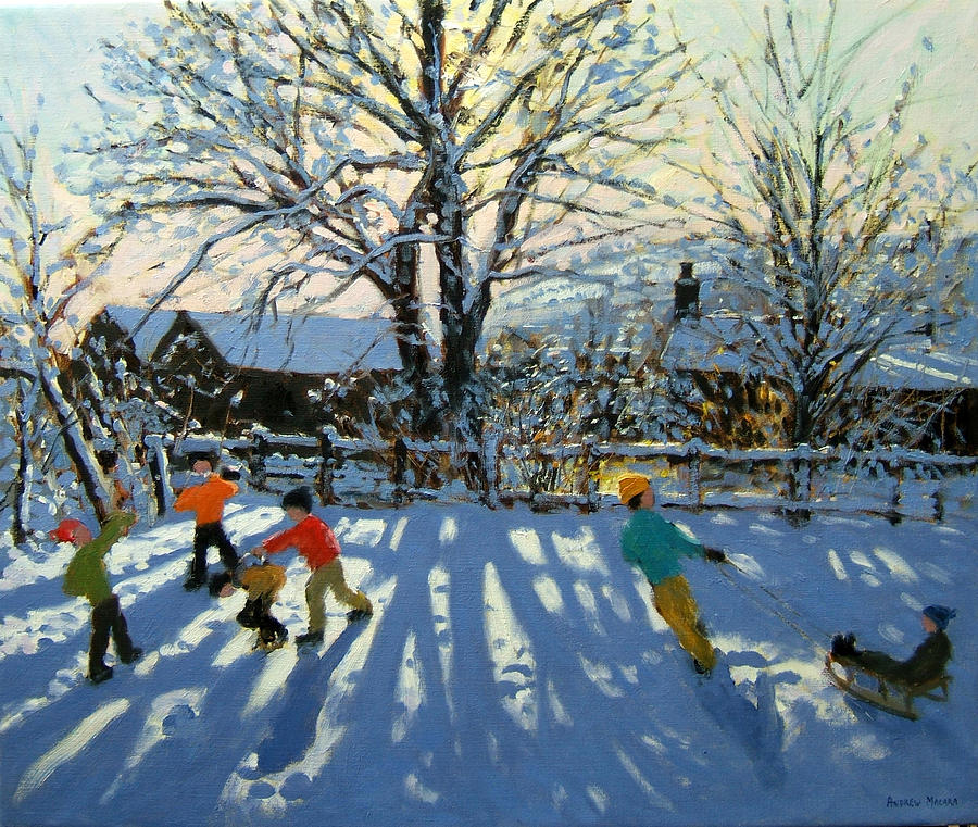Sledge Painting - Fun In The Snow by Andrew Macara