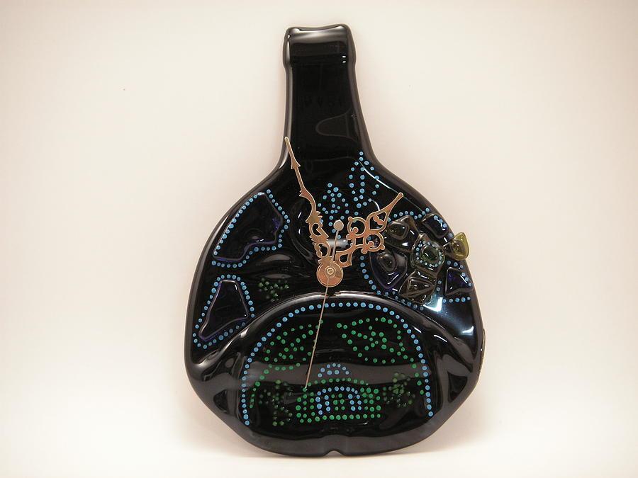Mixed Media Glass Art - Giftcraft-glass  Clock by ALEXANDR and NATALIA GORBACHEV