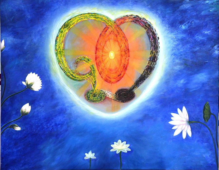 Spritual Painting - God Lives In My Heart by Rohit kumar Vohra