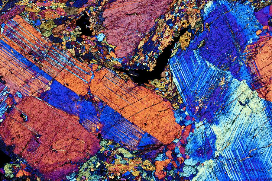 Granite, Thin Section, Polarised Lm Photograph by Pasieka