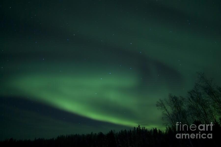 Yellowknife Photograph - Green Aurora Above Far Lake by Yuichi Takasaka