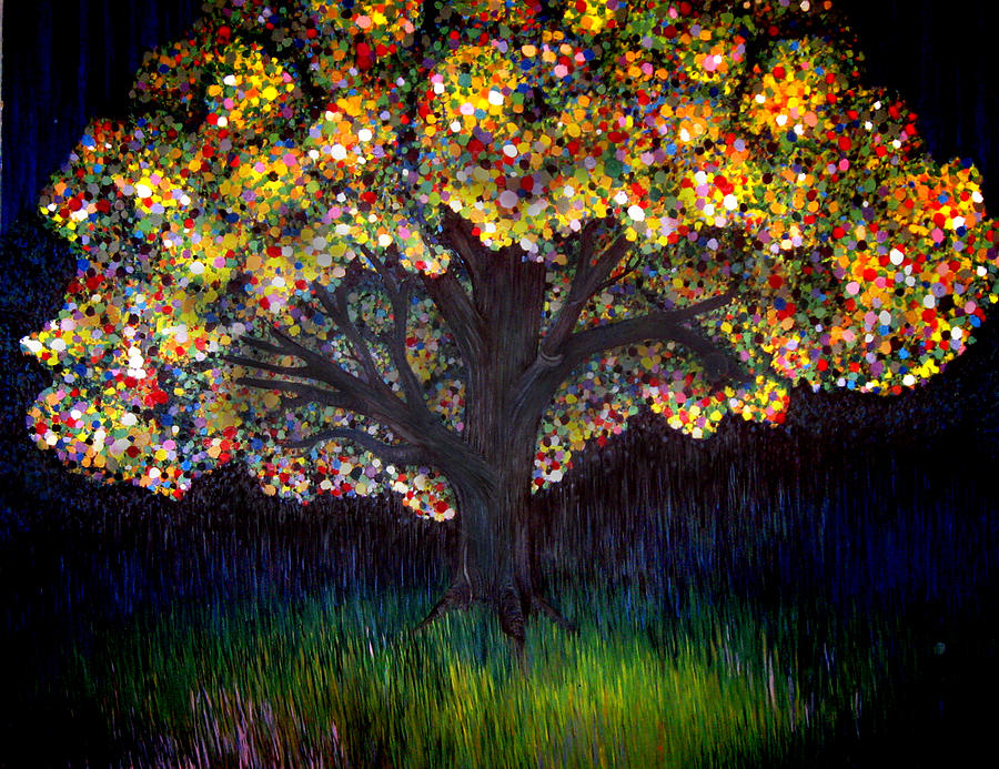 Tree Painting - Gumball Tree 0001 by Monica Furlow