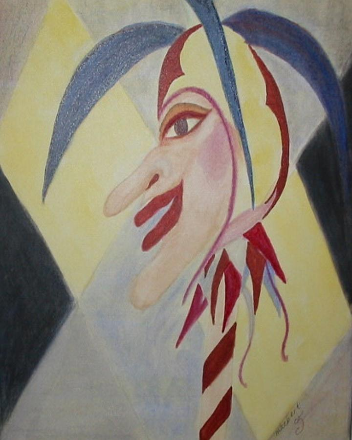 Indian Red Striped Jester Painting - Harlequin Jester by Marian Hebert