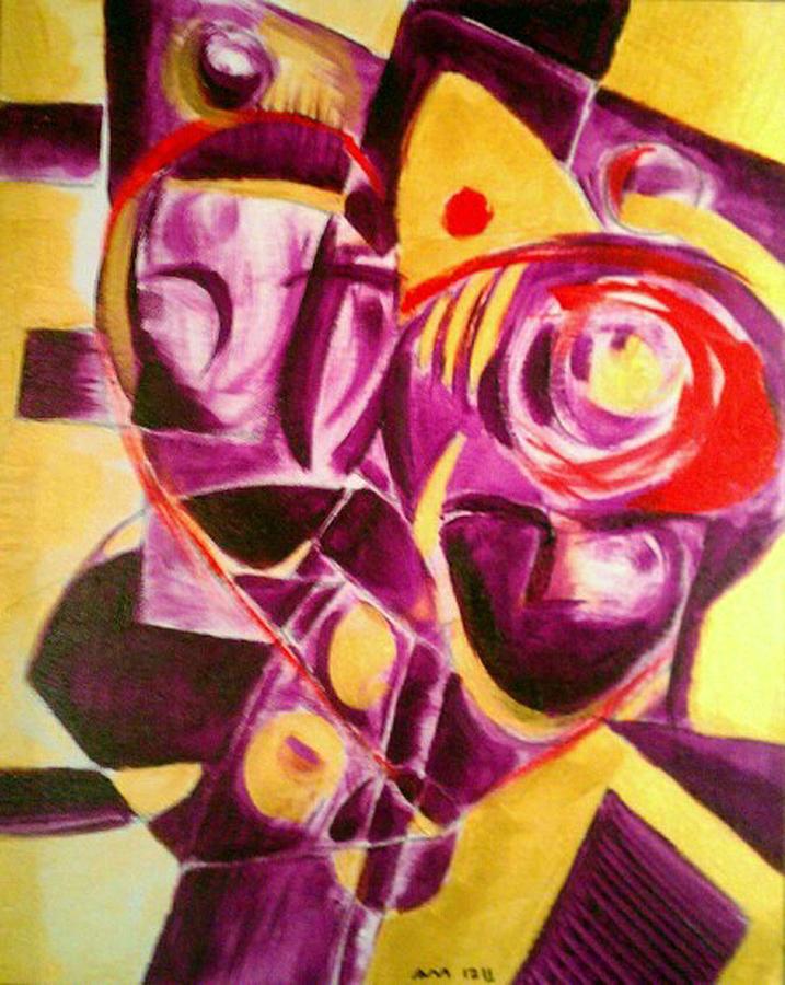 Acrylic Painting - 2 Heads 1 Heart by Ari Meier