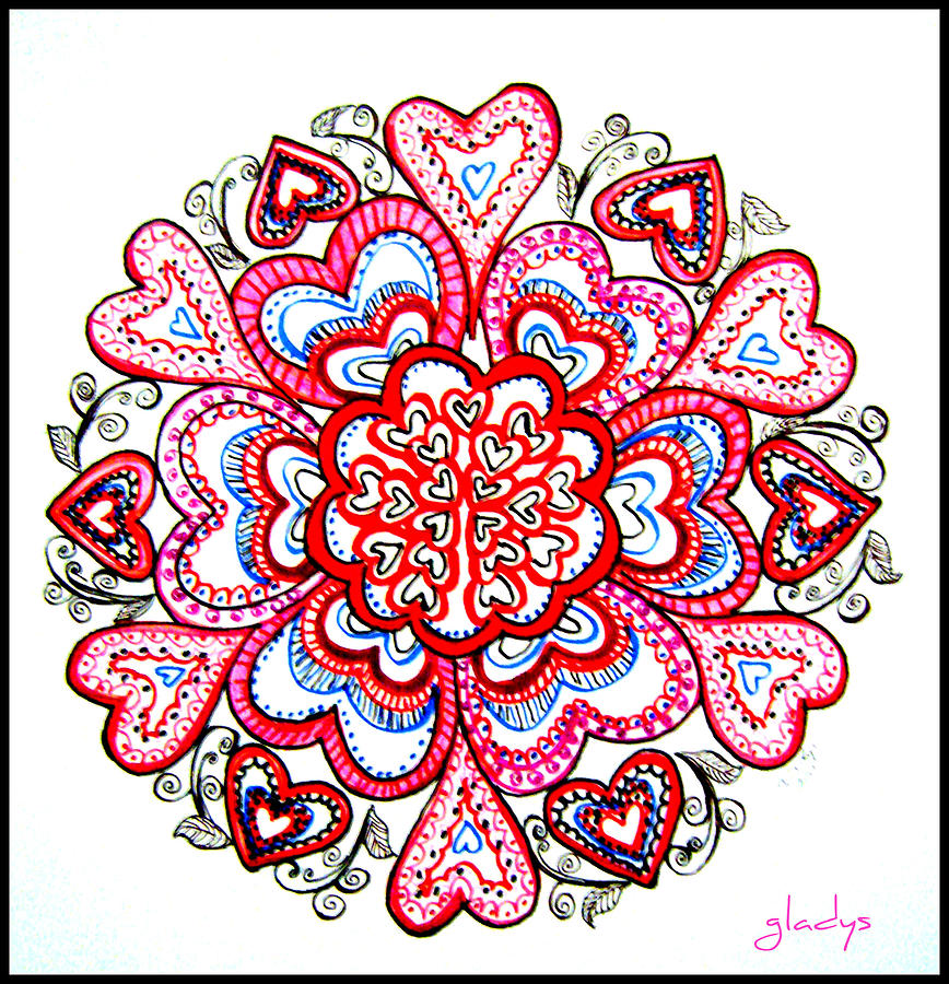 Heart Mandala Drawing by Gladys Childers