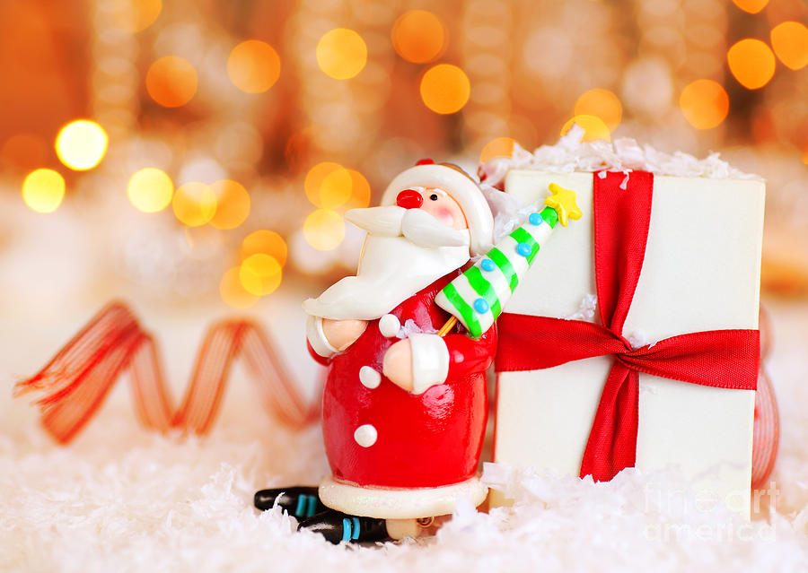 Christmas Holiday Background Photograph By Anna Om: Holiday Background With Cute Santa Decoration Photograph