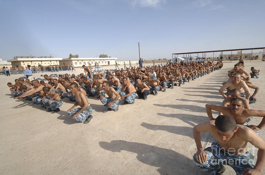 Physical Fitness Photograph - Iraqi Police Cadets Being Trained by Andrew Chittock