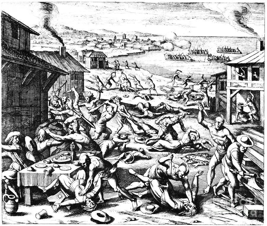 1622 Photograph - Jamestown: Massacre, 1622 by Granger