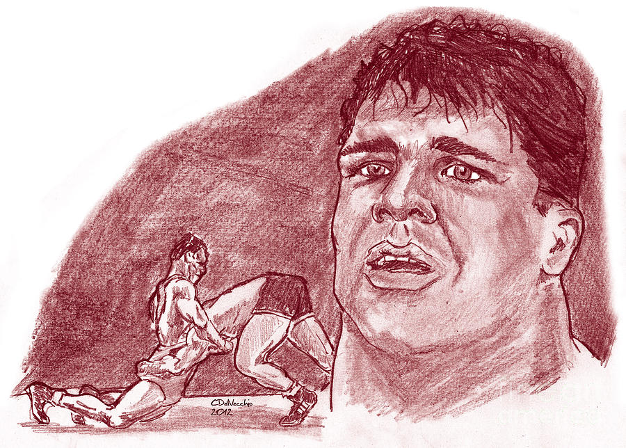 1996 Olympics Drawing - Kurt Angle by Chris  DelVecchio