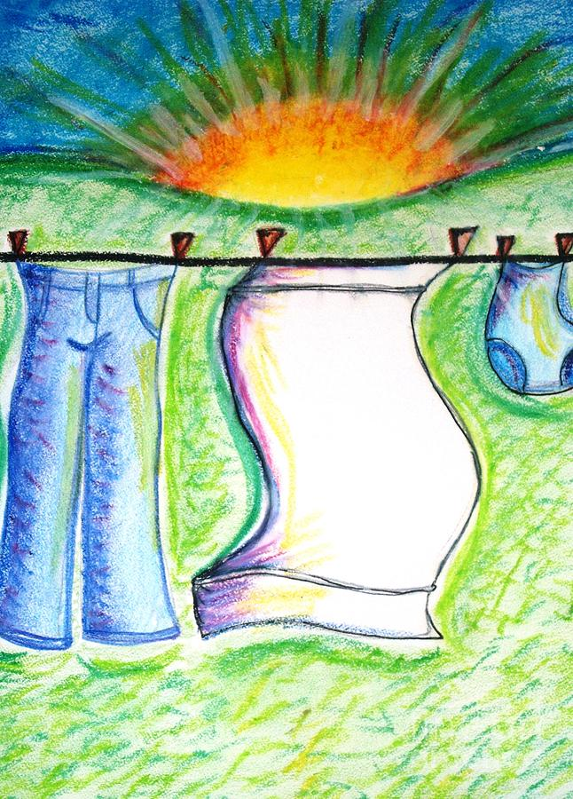 Morning Pastel - Laundry Day by Susan George