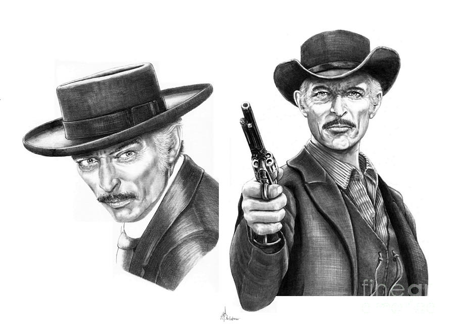 Drawing Drawing - Lee Van Cleef by Murphy Elliott
