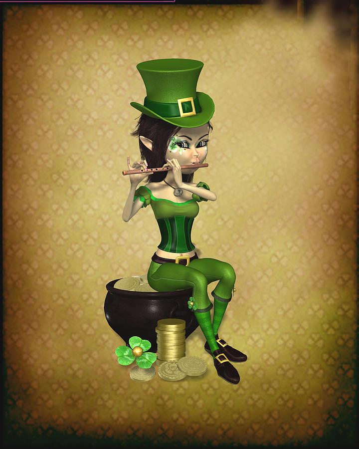 Elf Digital Art - Leprechaun painting  by John Junek