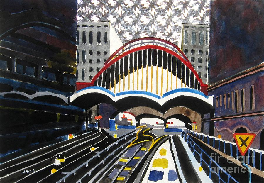 London Painting - London Canary Wharf Station by Lesley Giles