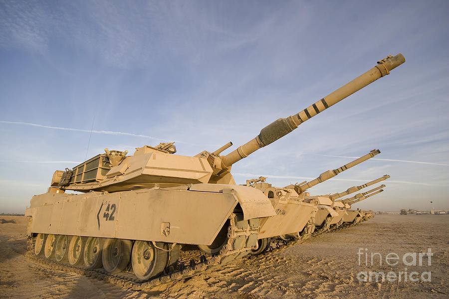 Operation Iraqi Freedom Photograph - M1 Abrams Tanks At Camp Warhorse by Terry Moore