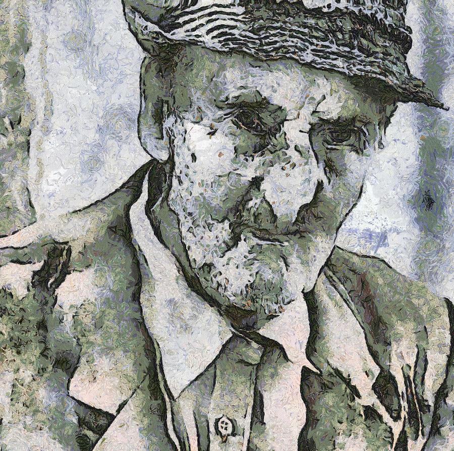 Nature Painting - Man Portrait by Odon Czintos