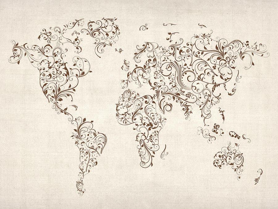 World Map Digital Art - Map Of The World Map Floral Swirls by Michael Tompsett