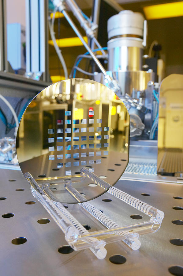 Wafer Photograph - Mems Production, Machined Silicon Wafer by Colin Cuthbert