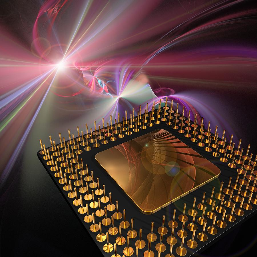 Microprocessor Chip, Artwork Digital Art by Laguna Design