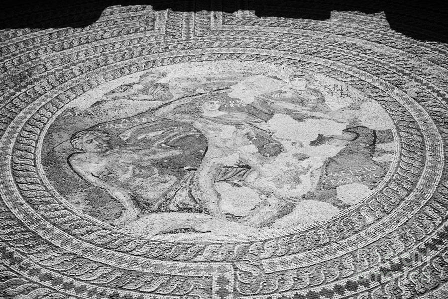 Pafos Photograph - Mosaics On The Floor Of The House Of Theseus Roman Villa At Paphos Archeological Park Cyprus by Joe Fox