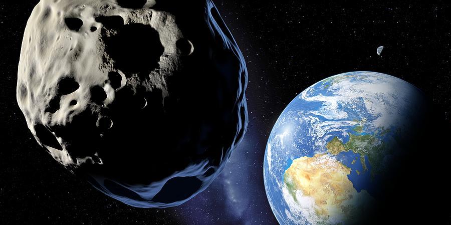 Earth Photograph - Near-earth Asteroid, Artwork by Detlev Van Ravenswaay