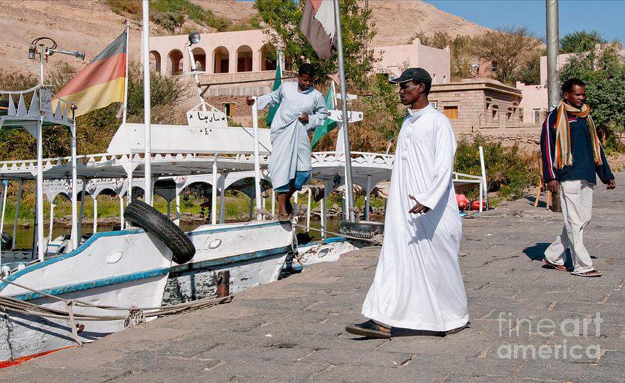 Boats Digital Art - Nubians Nile Philae by Carol Ailles