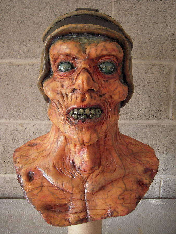 Zombie Mixed Media - Ole Leather Head by Scott Conner