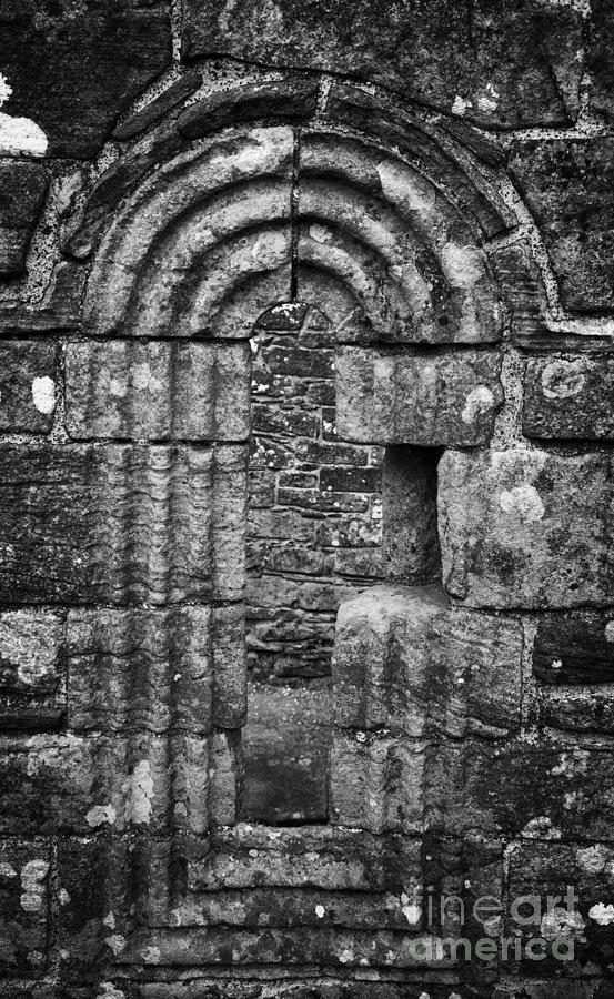 Banagher Photograph - Ornate Carved Window In The 12th Century Banagher Old Church County Derry Londonderry by Joe Fox