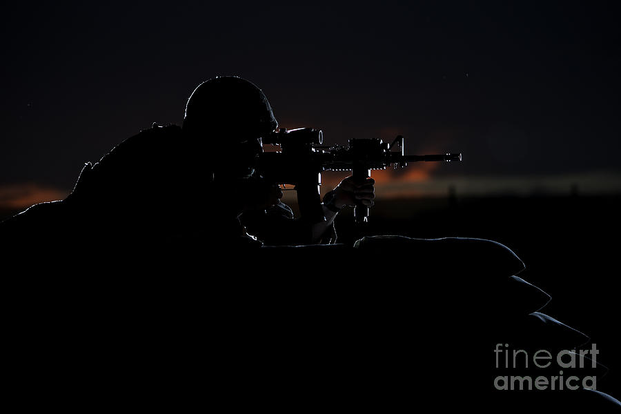 Afghanistan Photograph - Partially Silhouetted U.s. Marine by Terry Moore