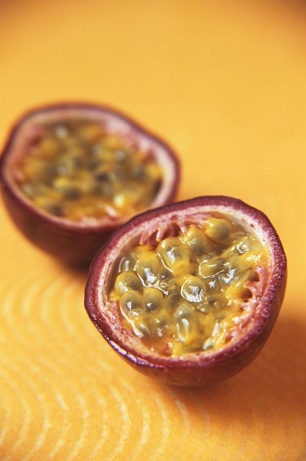 Passiflora Edulis Photograph - Passion Fruit Halves by Veronique Leplat