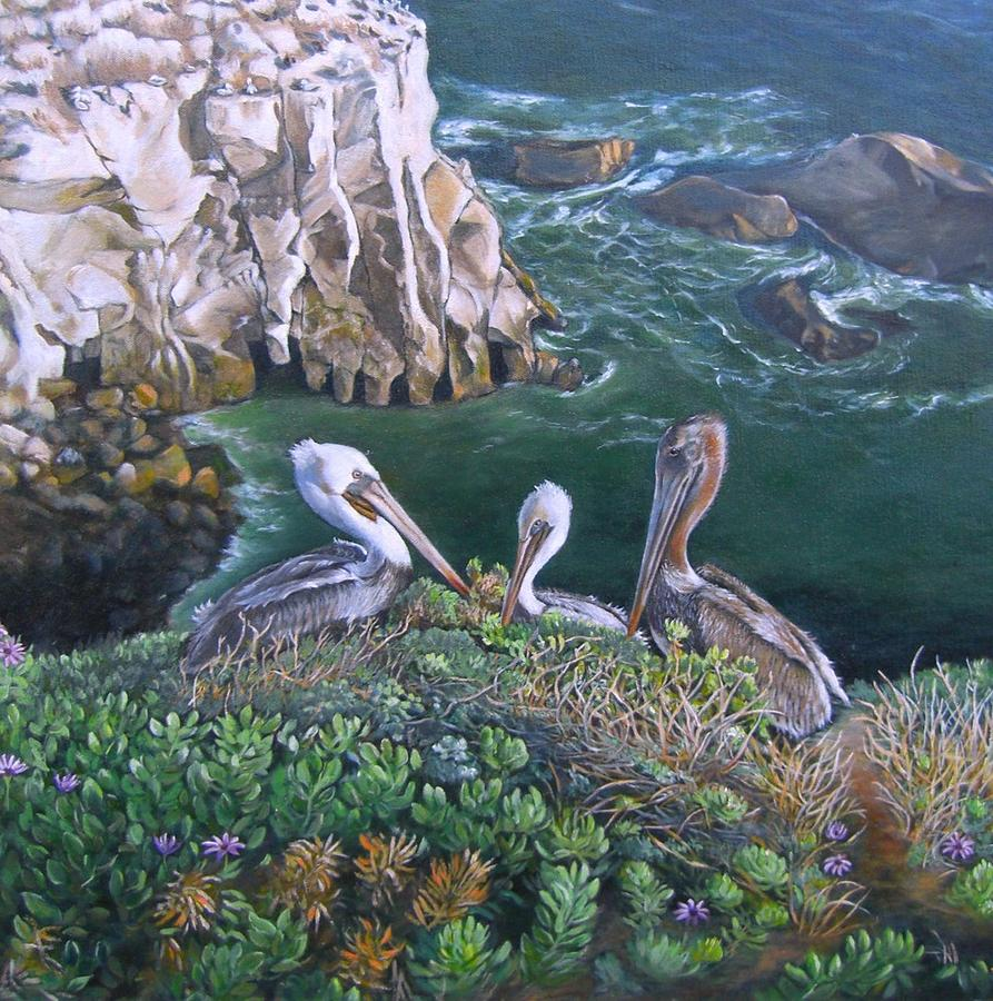 Pelicans Painting - Pelican Point by Lorna Saiki