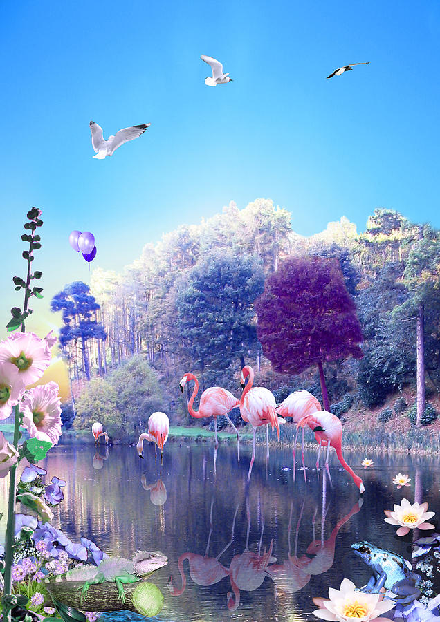 Landscape Digital Art - pink Flamingoes by Emily Campbell