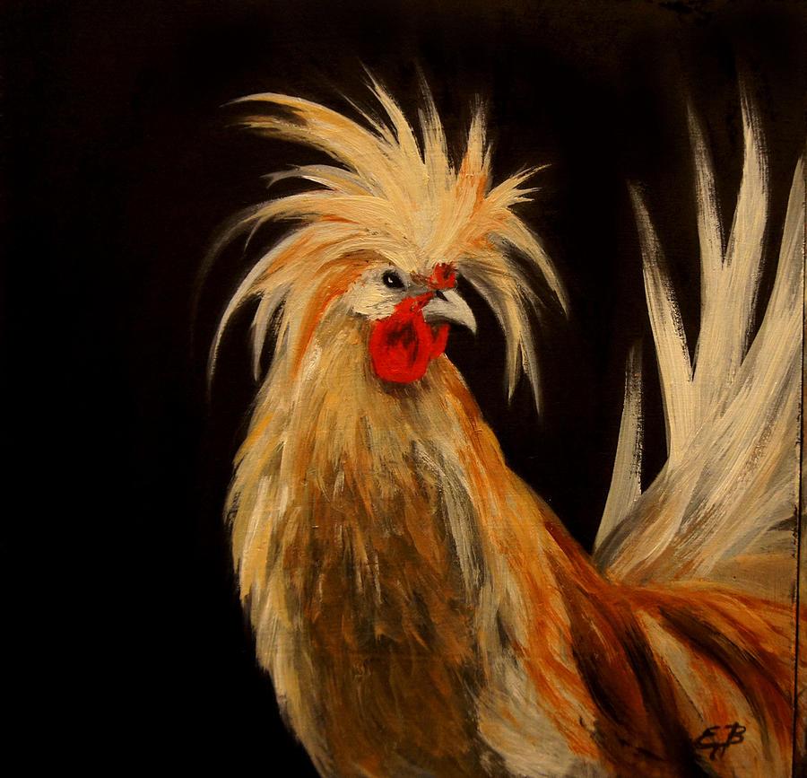 Polish Rooster Painting By Elizabeth Barrett