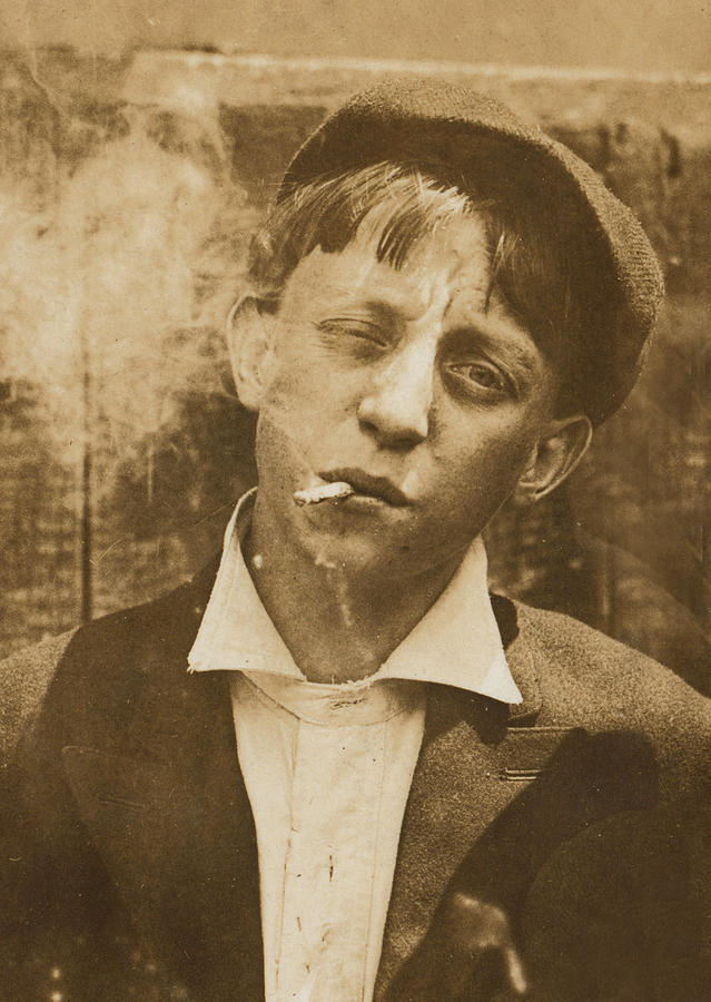 1910s Photograph - Portrait Of A Boy Smoking, Original by Everett