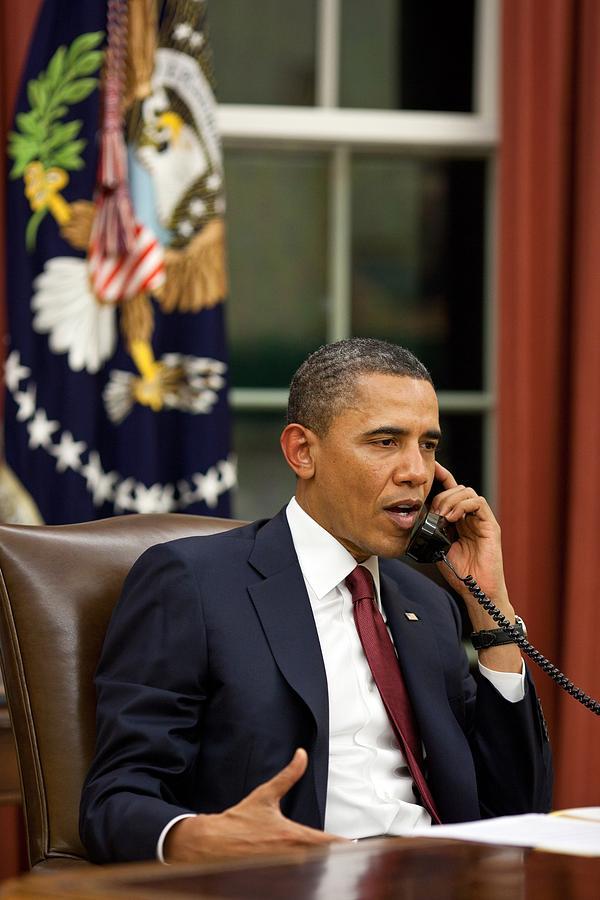 President Barack Obama Talks Photograph by Everett
