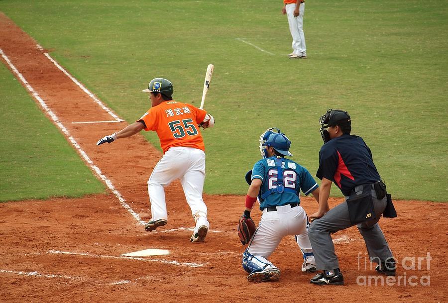Baseball Photograph - Professional Baseball Game In Taiwan by Yali Shi