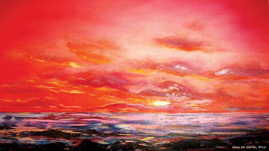 Red Sunset Painting By Gina De Gorna