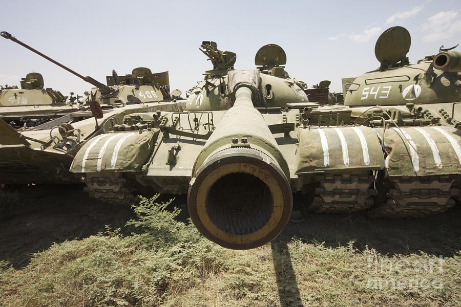 Cannon Photograph - Russian T-54 And T-55 Main Battle Tanks by Terry Moore