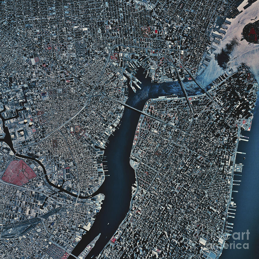 Satellite View Of New York New York Photograph By