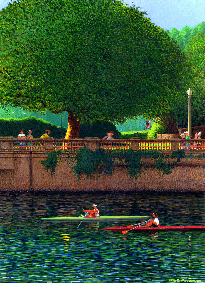 Sculling Painting - Scullers At Coal Harbour by Neil Woodward
