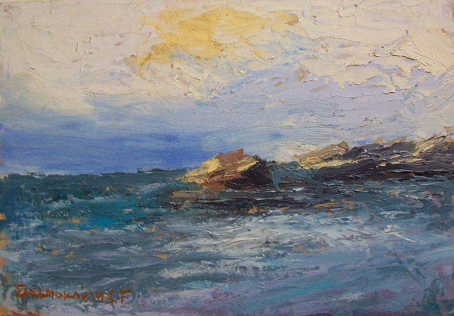 Sea Rocks Painting by George Siaba