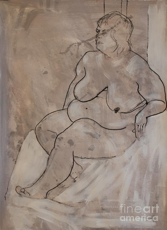 Nude Painting - Seated Female Nude by Joanne Claxton