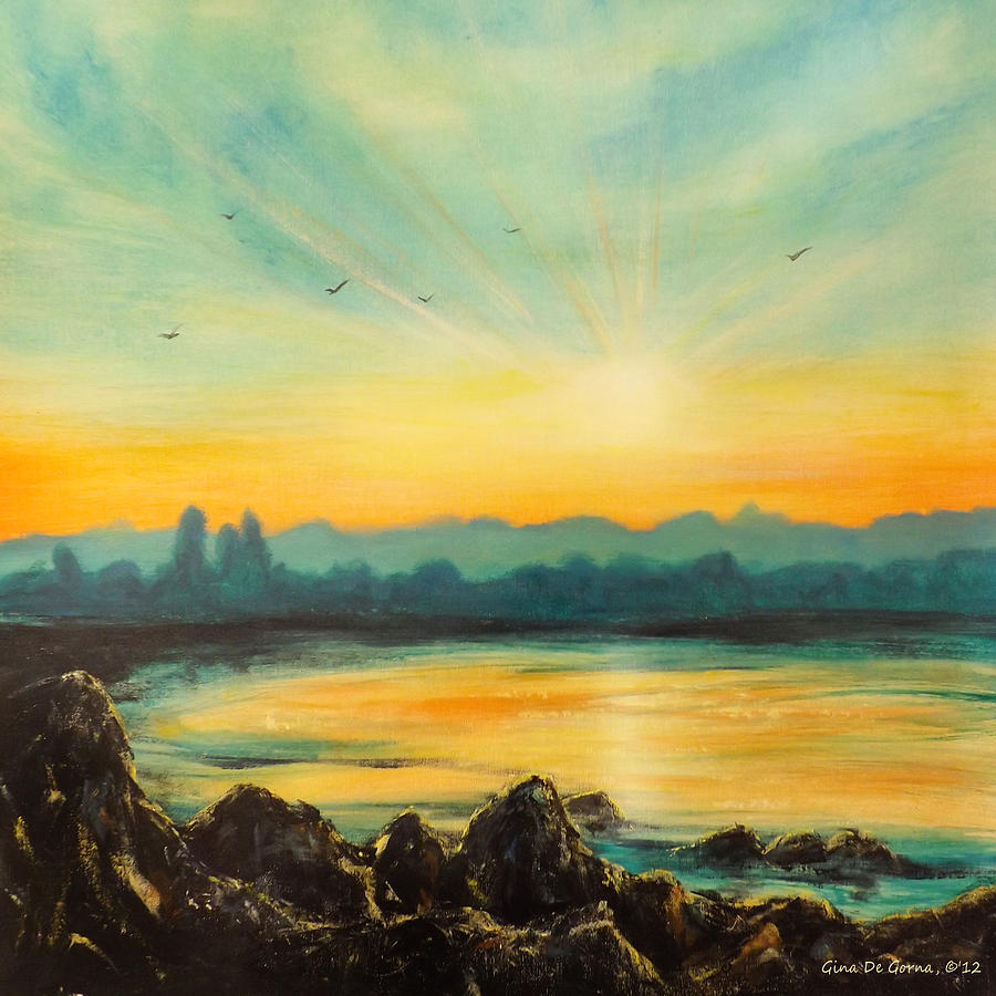 Sunset Painting - Serenity by Gina De Gorna