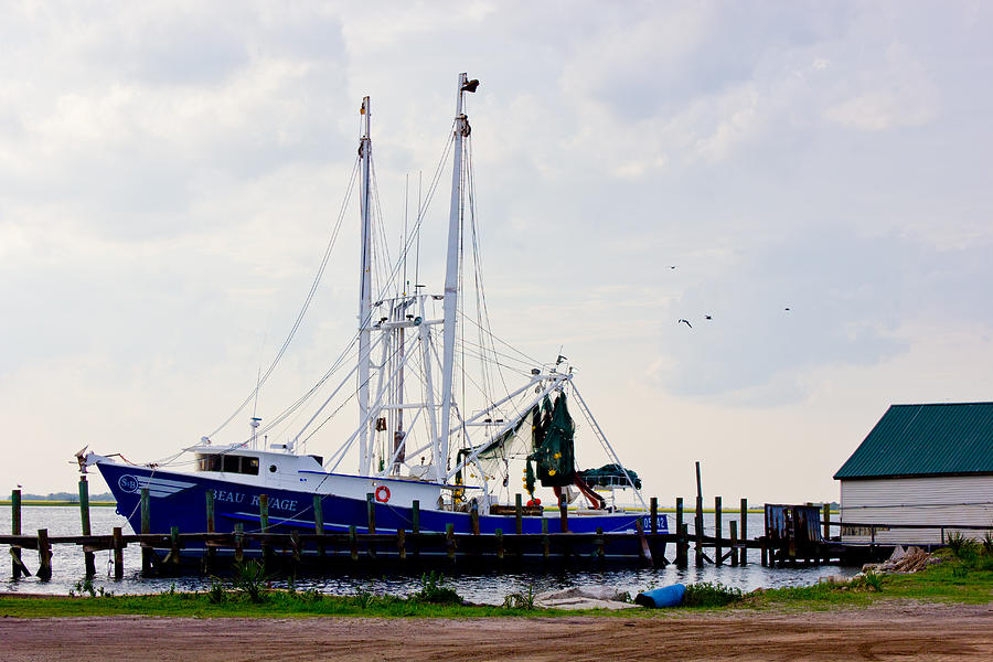 Shrimp Boat At Dock Photograph by Barry Jones