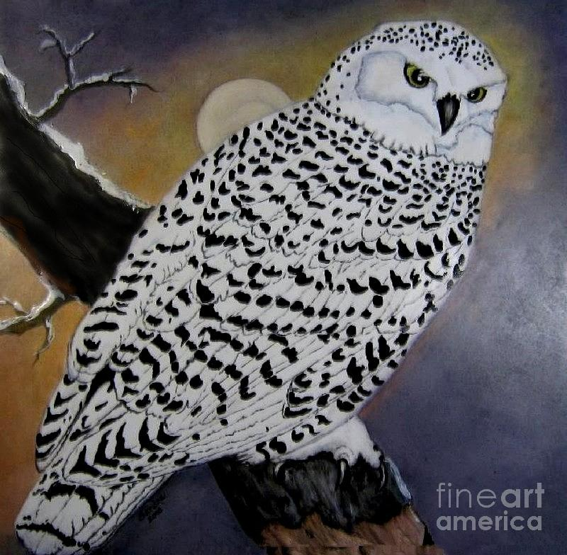 Snowy Owl Painting - Snowy Owl And Moon by Sandra Maddox