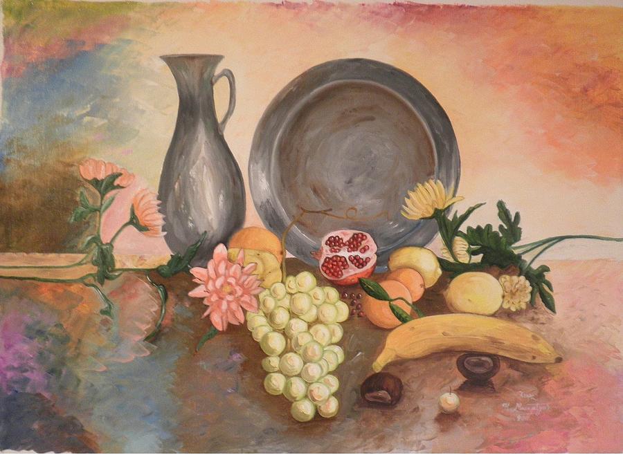 Fruits Painting - Still Life by Konstantinos Baklatzis