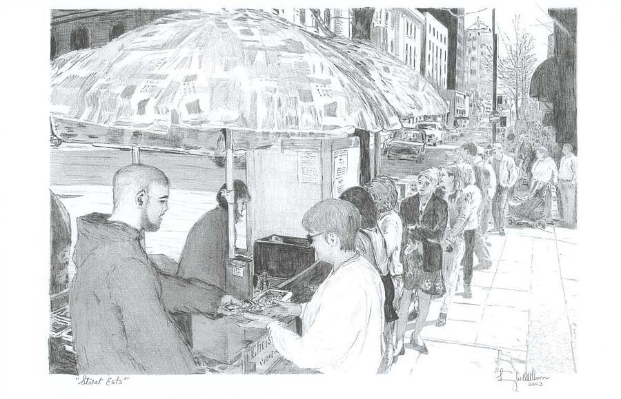 Street Scene Drawing - Street Eats by Larry Oldham