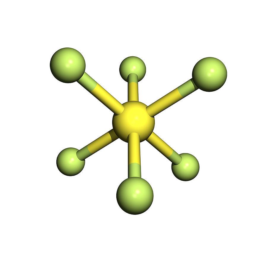 Chemical Photograph - Sulphur Hexafluoride Molecule by Friedrich Saurer